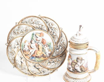 Capodimonte Porcelain Plate and Beer Stein