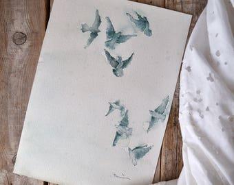 Original painting of watercolor birds