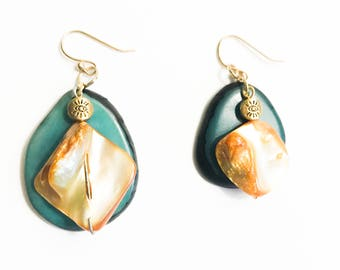 Blue Sunshine Dangle Earrings