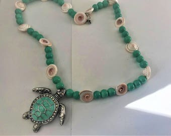 Teal Handmade Turtle and Shell Necklace