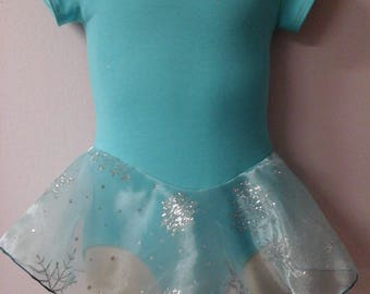 Girls Light Blue Lined Leotard w/Attached Single Layer Skirt Sizes 2-8 Brand New Professionally Made