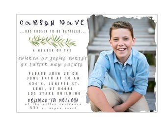 Green leaf LDS baptism invitation photography template digital 5x7