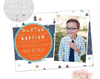 Aztec arrows boys lds baptism invite digital download
