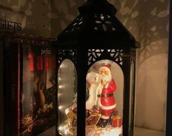 36cm Tall Christmas Lantern with Santa