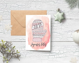 Printable Christmas Card, Instant Download, Mitten, Joyeuses Fêtes, French, Holidays, Printable, Digitalized watercolour, Christmas decor
