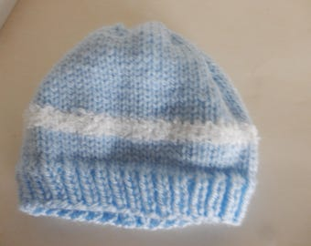 Knitted light blue baby hat