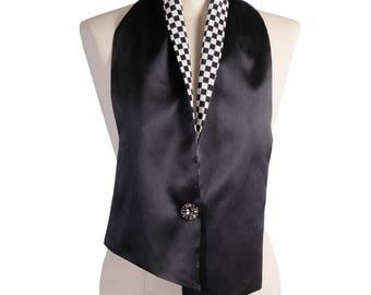 Silk-lined Mikado Black stole-stoles in Mikado and Silk