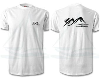 Land Rover Mountain Logo Front + Rear T Shirt, Classic, Novelty T-Shirt, Cars, Novelty Gift, Defender T-Shirt, Land Rover T-Shirt Adults