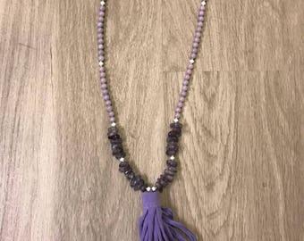 Purple tshirt tassel necklace