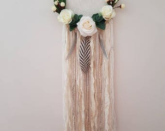Large floral neutral dream catcher