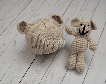 RTS Newborn Teddy Bear Hat and Toy Prop Set, Neutral Newborn Prop, Newborn Teddy Bear Prop, Stuffed Teddy Bear Prop, Newborn Bear Set