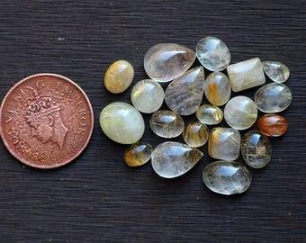 20pcs 61cts. 14x10mm 100% natural golden rutile smooth hand polish mix shape beautiful jewelry making handmade beautiful gemstone  SKU00112