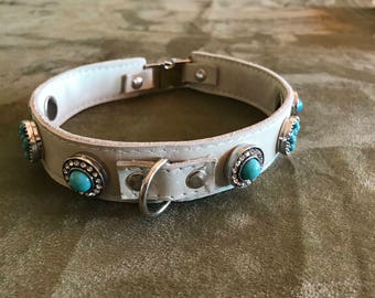 Leather Collar with Snap Jewels