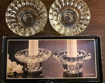 Vintage Forever Crystal Set of Two Crystal Tapered Candle Holders