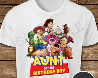 ON SALE 30% Toy Story Aunt of the Birthday Boy Iron On Transfer. Toy Story Aunt Iron On Transfer. Toy Story Auntie Iron On T-Shirt.