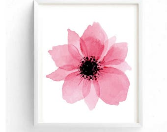 Beautiful Pink flower Printable Digital Wall Art Decor Floral Art Flower Painting Print