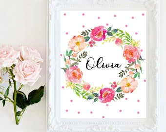 Custom Names Baby Girl Names Personalized Prints Beautiful Watercolor Floral Wreath Nursery Decor Baby Shower Gift