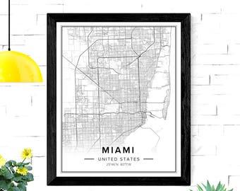 Miami Map, Miami Map Art, Miami City Map, Miami Print, Miami Poster, Miami Wall Art, Miami Florida, Map Of Miami, Florida Map, City Maps