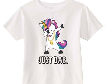 Just Dab Unicorn Toddler T-shirt (White)