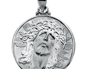 14K White Hollow Face of Jesus Pendant