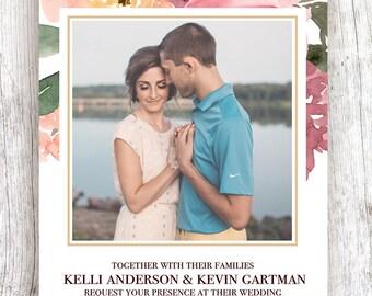 Upper Blush Floral Wedding Invitation - 5x7 or 4x6  (ONE-SIDED)