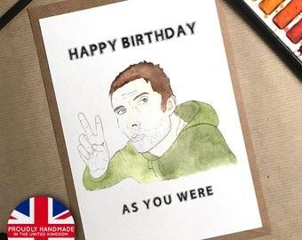Liam Gallagher, Liam Gallagher Card, Birthday Card, Oasis Birthday Card, Liam Gallagher Gifts, Birthday Card Boyfriend, Oasis Gifts