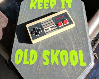 "Nintendo NES Video Game Art w/ Real NES Controller Hand Painted ""Keep It Old Skool"" Free Shipping!"
