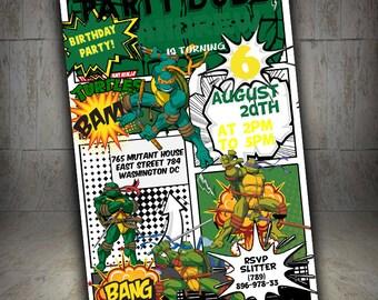 Ninja Turtle Invitation, Ninja Turtle birthday Invitation, TMNT Invitation, Ninja Turtle Party, Ninja Turtle Birthday, Ninja Turtle Invite