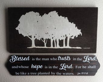 Customizable wooden sign with the verse of your choice      Jeremiah 17:7-8