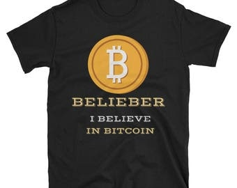 Bitcoin Tshirt - Belieber(Believe in Bitcoin) - Short-Sleeve Unisex T-Shirt (Crypto Blockchain, Cryptocurrency)