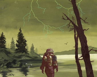 """An Art Parody Called """"Fallout 4 RAD Storm"""" Classic Sofa Painting Recycled Thrift Store Art"""