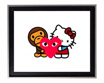 Bape Baby Milo x Hello Kitty x Comme Des Garcons Poster or Art Print (a bathing ape)