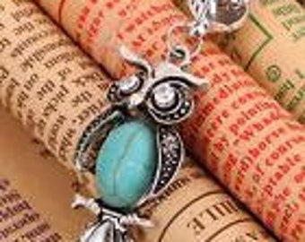 Classical Turquoise Moonstone Owl Necklace