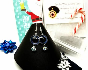Blue Glow in the Dark Evil Eye Earrings\ Evil Eye\ Blue Earrings\ UV Reactive Jewelry\ Gift Idea for Her\ Hand Painted Evil Eye\ Trendy