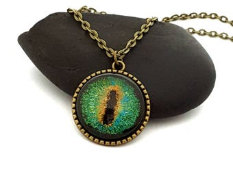 Green Dragon Eye Pendant/ Green Eye Necklace/ Bronze Necklace/ Tree of Life/ Eye of Sauron/ Fantasy Jewelry/ Hand Painted Necklace