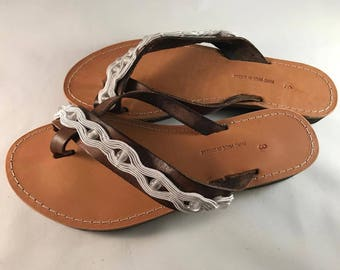 "Niko & Alexander"" Luxury Greek Handmade Embroidered Leather Sandals Model ""Chloe"""