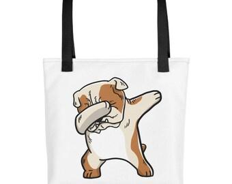 Funny Dabbing English Bulldog Tote bag, Cute Bulldog Dog bag