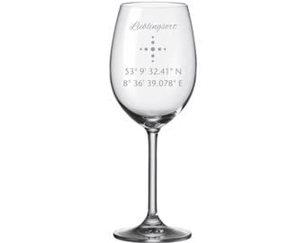 "Leonardo Wine glass with engraving ""coordinates"" engraved as a gift for Christmas festive Saint Eve partner friends"