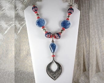 "Heavy. Bohemian ""Gypsy"" Look. Bright Colors. Semi-Precious Beads. Old Silver Pendant.  35"" Long. Lobster Claw Clasp."