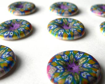 Fiona's Kaleidescope Buttons - handmade in polymer clay