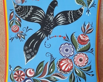 "Handpainted cutting board in the style of the Gorodets painting for kitchen decor ""The Bird"""
