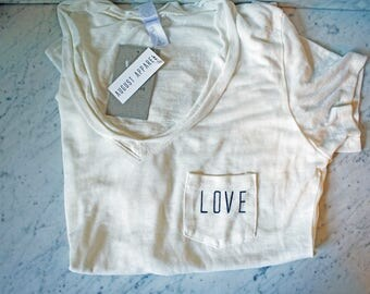 LOVE Women's White Pocket Tee