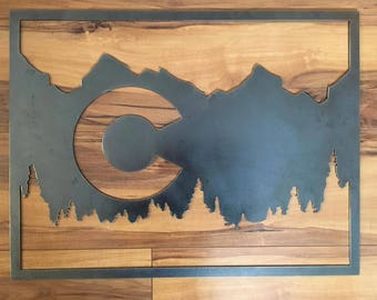 Metal Colorado Flag Wall Art