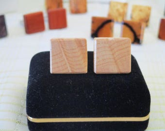 Square Wood Cuff Links,  Birdseye Maple Cuff Links, Hand Made Cuff Links