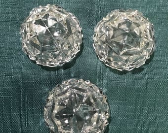 Set of 3 Vintage Salt Cellars with X's and Diamond Shapes