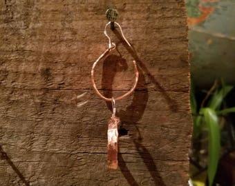 Handmade hammered copper earrings