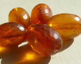 Natural Baltic Amber Beads 5 pc Very Old Vintage Honey Color