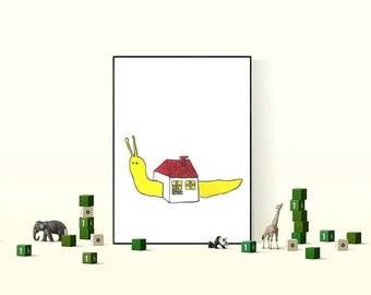 Printable Illustration Art Cute Funny Snail With His House Cute Nursery Art