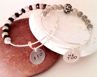 Couples bracelets, Groom Bracelet, Bride and Groom, Bridal shower gift, Couple's gift, Men's silver bracelet, Stamped charm bracelets