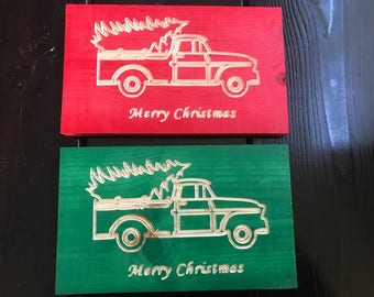 Old Truck w/ Tree Merry Christmas Carved Wood Sign